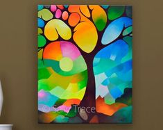 "Fine Art Giclée Print on Stretched Canvas from my Original Abstract Tree-Of-Life Painting, ""Dreaming Tree"", geometric art Tree Of Life Painting, Abstract Tree Painting, Painting Prints, Abstract Landscape, Geometric Trees, Abstract Geometric Art, Tree Canvas, Canvas Art, Canvas Prints"