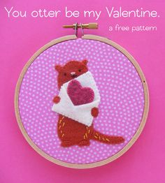 You otter be my Valentine - a free embroidery pattern Embroidery Patterns Free, Felt Patterns, Cross Stitch Embroidery, Hexagon Pattern, Free Pattern, Easy Felt Crafts, Kids Crafts, Aquarium Craft, Learning To Embroider