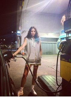 Here's Eliza Doolittle in this Duffer sleeveless hood on a recent trip to the USA.