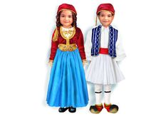Magnetic paper dolls in Greek traditional dress