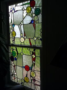 I love this modern stained glass.