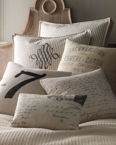 "French Laundry Home ""Lucky Number 7"", ""Vintage Post Card"", and ""French Words"" Pillow"