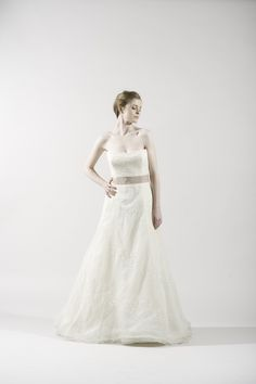 Vera Wang Ivory Lace Organza Gown