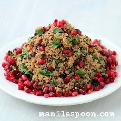 Manila Spoon: Festive Quinoa - With all the many holiday temptations let's add to our holiday table this absolutely gorgeous, guilt-free and truly delicious festive HOLIDAY QUINOA! Flavored with cinnamon, dotted with pomegranate seeds and then garnished with cilantro this quinoa salad is a true winner! Please enjoy!