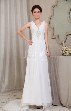 Sexy V Neck Beading Chiffon Free Shipping Ivory Dress for Beach Wedding £97.99