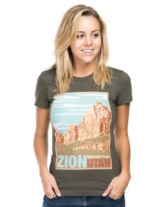 Zion Organic Fitted Short Sleeve Tee. Can you imagine walking through winding paths where generations before ours have once walked? Zion National Park in Utah is a sight to see with its massive sandstone cliffs and narrow canyons. Each purchase of this poster-like design donates to the National Park Foundation to help preserves this historical landmark and others like it to be enjoyed for years to come. #Sevenly + National Park Foundation #ShopForACause ❤️
