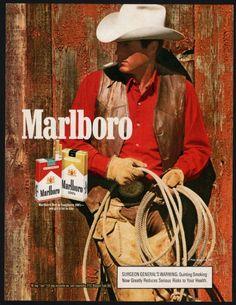 1987 MARLBORO MAN CIGARETTES AD Coyboy in red