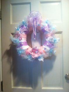 Baby girl diaper wreath baby shower idea