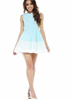 Sleeveless Aqua Skater Dress Featuring Lace Detail,  Dress, lace and white colorblock, Chic