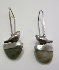 Sterling Silver Birds on Cut River Stone by rebeccabashara on Etsy, $180.00