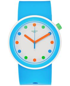 A POPpingpop watch from Swatch's Pop collection. | Blue silicone strap | Round blue plastic case, 41mm | White dial with multicolor dot indices, three hands and Swatch logo | Swiss quartz movement | W
