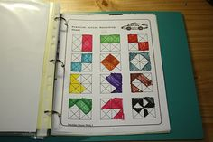 I found this math notebooking page from the NC Department of Public Instruction Grades 3-5 Resources. It is page two of the weeks 1-4 document. You could use it in a multitude of ways. I chose to simply ask Sprite to color in one half of each square, but making each one unique. As expected, her first attempts are obvious -- the top half, the left half. But then her halves become more creative -- coloring the outer triangles or even random parts.    math notebooking fractions