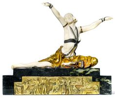 Art Deco Egyptian dancer sculpture by Claire Jeanne Robertine Colinet, c. 1920, bronze, marble, ivory, H 26.5cm, L 32cm.