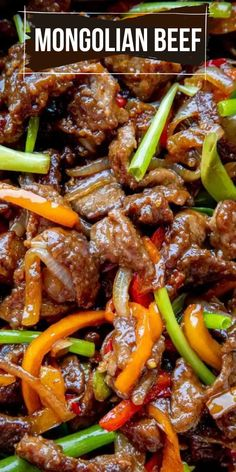 Homemade Mongolian Beef recipe Tender and juicy beef strips tossed with peppers onions and a simple savory sauce letthebakingbegin beef beefrecipe dinner mongolian mongolianbeef Beef Dishes, Food Dishes, Main Dishes, Meat Dish, Asian Recipes, Healthy Recipes, Healthy Food, Healthy Nutrition, Healthy Heart