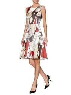 Silk Printed Fit and Flare Dress