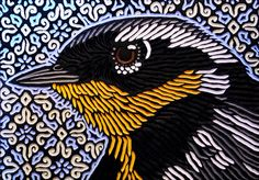 Magnolia Warbler by Lisa Brawn - Cool style for altered art projects - preferably with birds local to the the Triangle (NC) Stencil Wood, Stencil Painting, Bird Artwork, Krishna Art, Bird Drawings, Art Prints, Lino Prints, Block Prints, Illustrations And Posters