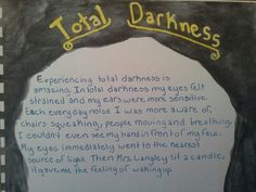 Waldorf ~ 6th grade ~ Physics: Light ~ Total Darkness ~ Experiment Observations ~ main lesson book
