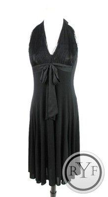 Must Have New BCBG MAXAZRIA Black Bow Tie Front Knee Length Halter Aline Dress L | eBay