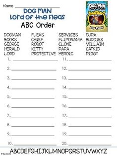 An ABC Order worksheet to go with the Dog Man book called Dog Man Lord of the Fleas! Dog Man Book, Man And Dog, Dog Books, Dav Pilkey Dog Man, Book Bins, Captain Underpants, Book Themes, Continuing Education, Reading Activities