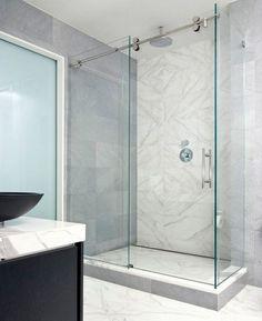Bathroom Magnificence Sliding Door Shower Versus Enclosure: Magificence Glass Shower Sliding Door Shower Enclouser With Marble Wall Bathroom Design With Black Bowl Sink