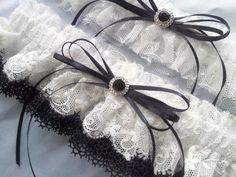 Black White Elegant Lace Rhinestone Bridal Garter Set by Allofyou