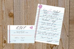 Notebook Paper Wedding Invitation Suite by SimpleSimonDesign, $30.00