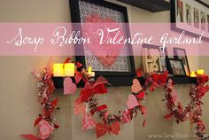 Scrap Ribbon Valentine Garland...just bought one like it at Michaels but I would like to make one myself.