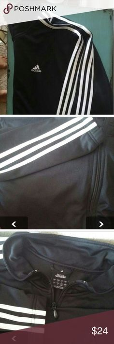 Adidas Classic Black and white stripes men large There's small pulling , on pic. Other than that great, embroidered Adidas logo , pockets and full zipper Adidas Jackets & Coats Performance Jackets