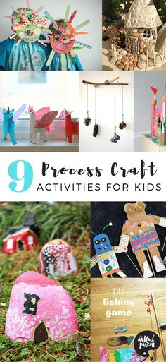 Try these 9 amazing PROCESS craft activities for kids that encourage a creative and experimental attitude with ways to make it truly one's own. via Artful Parent Halloween Activities For Kids, Art Activities For Kids, Creative Activities, Creative Kids, Craft Kits For Kids, Crafts For Kids To Make, Projects For Kids, Fishing Games For Kids, Mobiles For Kids