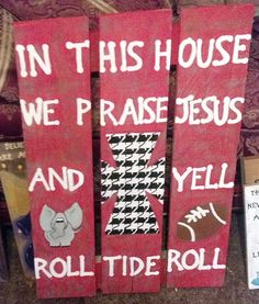 Alabama and Christian Distressed Houndstooth Palette Sign
