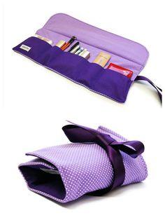 Make up bag organizer in purple dot, Makeup roll, Cosmetics holder, five pockets Makeup bag