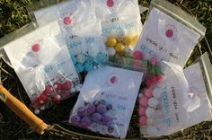 Girls birthday party favors - make your own bracelet kits!  So cute!  Fun to make at the party or for each girl to take home.  Customize your colors.  Great idea!
