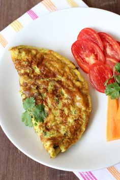 Masala Omelette. Eggs, veggies, coriander leaves and garam masala powder.