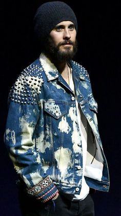 Jared Leto wearing Gucci Oversize bleached denim jacket with studs Bleached Denim Jacket, Long Hair Beard, Shannon Leto, Just Jared, Blade Runner, Jared Leto, Dress Codes, Man, Fashion Models