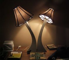 Mushroom, Pair of Table lamps, concrete based. Tops are laser cut perspex with paper. Concrete Lamps by (Japan) , via Behance Concrete Casting, Concrete Cement, White Concrete, Concrete Design, Styrene Sheets, Light Em Up, Cement Crafts, Light Project, Metal Working