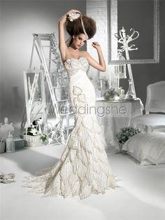 Spectacular Trumpet/Mermaid Sweetheart Floor-length Court Tiered Wedding Dresses