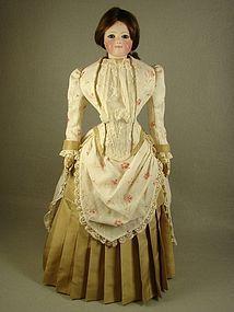 French Fashion Day Dress Antique Printed Cotton for 18 inch Lady Doll, made by Carol H. Straus, 2015.  #dollshopsunited #silkandtrim