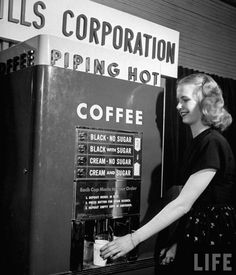 Vintage coin-operated coffee machine, 1947. Coin-operated coffee machine with 4 possible mixtures, each selling for five cents.