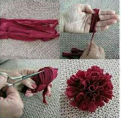 Cut a long strip from an old t-shirt. Wrap it around your hand as in photo. Use a small piece to tie if off. Cut the t-shirt ends will roll nicely and give you the look in bottom right photo. Now what will you do with the rose?? Sew it onto a sweater? bookbag? purse?