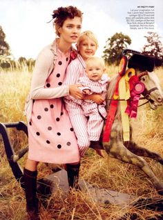 Field of dreams by Mario Testino. Lanvin pink and black dress. Natalia V.