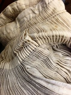 Neutra's Terram, Fabric Manipulation - vintage fabric detail with pleated textures Textile Texture, Textile Fabrics, Fabric Textures, Textile Art, Textile Manipulation, Texture Images, Linens And Lace, Pattern Cutting, Vintage Textiles