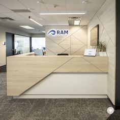 RAM Consulting by Aura Office Environments - Darrel Waiton Office Counter Design, Reception Counter Design, Office Reception Design, Modern Reception Desk, Office Table Design, Medical Office Design, Office Space Design, Modern Office Design, Office Furniture Design