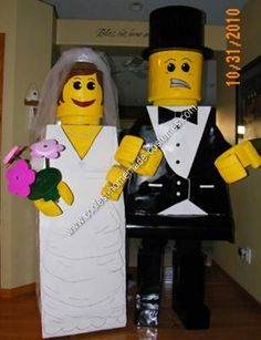Homemade Bride and Groom Lego Halloween Couple Costume Idea... This website is the Pinterest of costumes