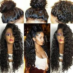 DescriptionThis is Brazilian Full Lace Human Hair Wigs. Its Brazilian Hair Lace Front Wig,Virgin Human Hair Full Lace Wigs,comfortable, Soft And Smooth. Black Curly Hair, Long Curly Hair, Curly Hair Styles, Natural Hair Styles, Curly Ponytail, Curly Wigs, Natural Wigs, Updo Styles, Bob Hairstyles With Bangs