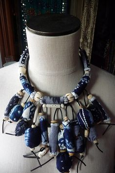 Indigo bead necklace by East Side Bags