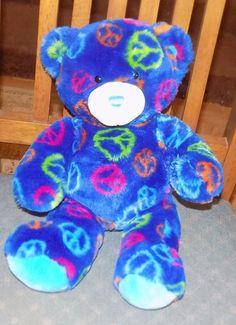 "14"" BABW Build A Bear Workshop DARK BLUE White Plush PEACE SIGN Bear 2 #BuildABearWorkshop"