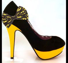 BATMAN batgirl yellow black girly bow high heel stiletto shoes HandMade wedding bride groom matching bow tie by CrystalCleatss on Etsy https://www.etsy.com/listing/227799921/batman-batgirl-yellow-black-girly-bow
