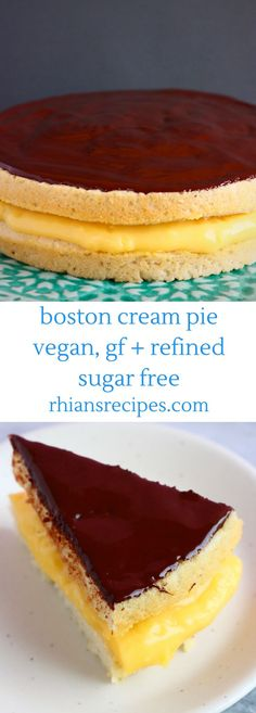 This Gluten-Free Vegan Boston Cream Pie is rich and creamy, perfectly chocolatey, and just as delicious as the traditional version! Filled with a delicious egg-free custard and topped with a velvety chocolate ganache. Sugar Free Desserts, Gluten Free Desserts, Thermomix Desserts, Desserts Menu, Italian Desserts, Lemon Desserts, Paleo Dessert, Gluten Free Baking, Vegan Gluten Free