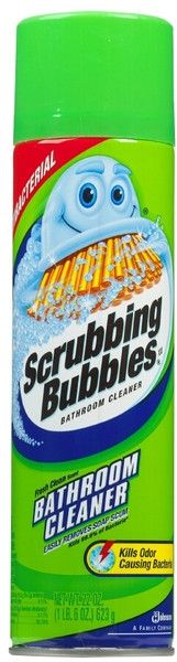 Scrubbing Bubbles Foaming Bathroom Cleaner foams to thoroughly clean, sanitize, shine and deodorize your bathroom surfaces. Easily removes soap scum Hard-water stains and dirt Controls mold and mildew