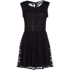 Yumi' Short Dress ($55) ❤ liked on Polyvore featuring dresses, black, zip dress, short black dresses, lacy black dress, lace dress and mini dress